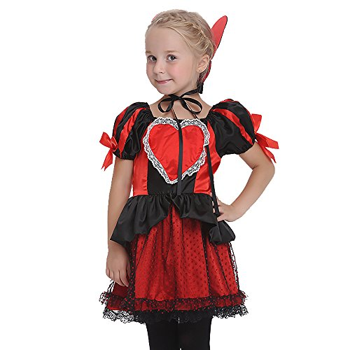 Uleade Kid's Deluxe Queen of Hearts Costume Halloween Festival Performance Costume Party Cosplay Dresses Outfit ()