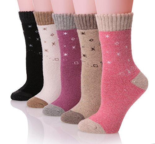 ProEtrade Soft Casual Thick Warm Crew Wool Winter Socks For Women - 5 Pairs