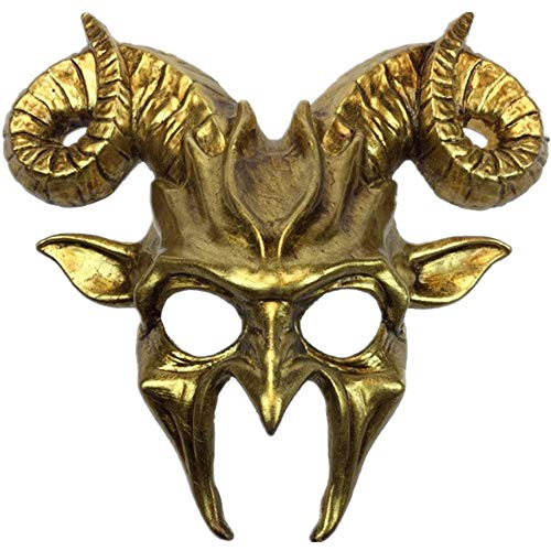 Storm Buy] Ram Goat Series Face Masquerade Animal Devil Mask Costume Halloween Horror Demon (Shine Gold) -