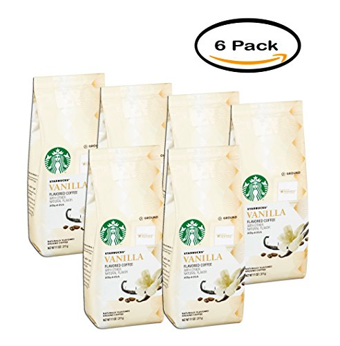 PACK OF 6 - Starbucks Vanilla Flavored Coffee with other Natural Flavor Silky & Rich 11 oz. Package