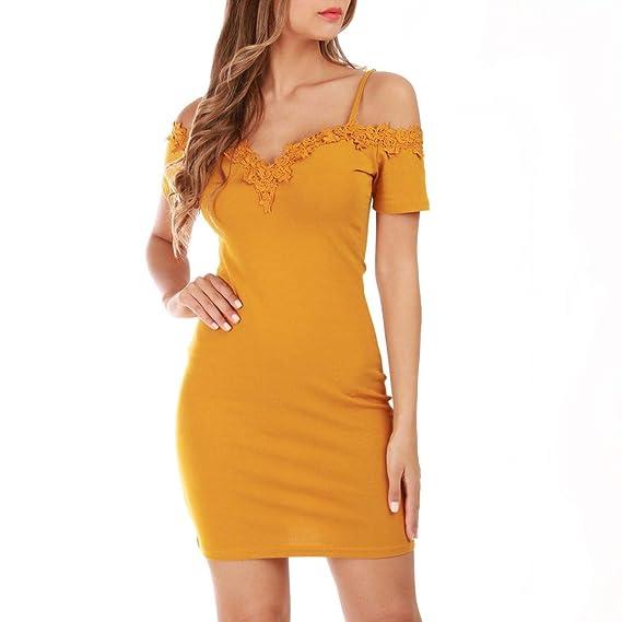 cdd42cb7a7700 La Modeuse - Robe jaune moulante: Amazon.fr: Vêtements et accessoires