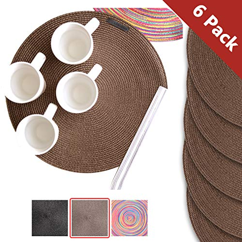Lungfish Round Placemats Set of 6 Chocolate,Heat Resistant WashablLungfish Place Mats, 6 PCS Heat Resistant Washable Woven Braided, Non-Slip Kitchen Dining Mat (Chocolate) (Round Placemats Teal)