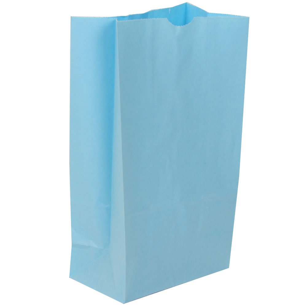 JAM Paper Kraft Lunch Bag - Medium - 5'' x 9 3/4'' x 3'' - Baby Blue - 500/Box