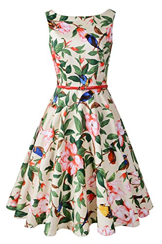 Chicanary Women's Floral 1950s Rockabilly Cotton Vintage Dress (XX-Large, Beige Floral) (Twenties Dress)