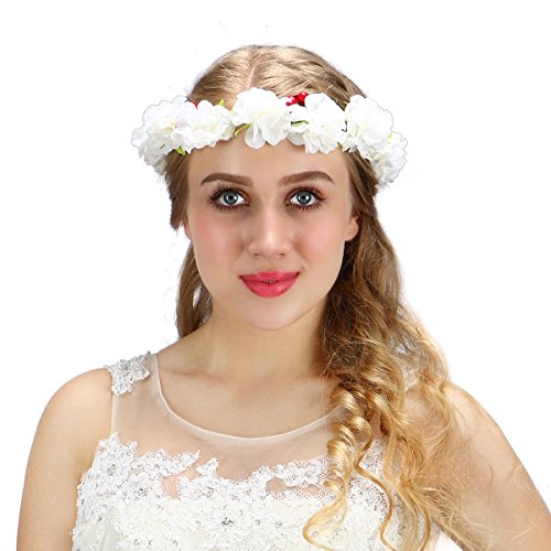 Valdler Flower Wreath Headband Floral Crown Garland Halo for Wedding Festivals