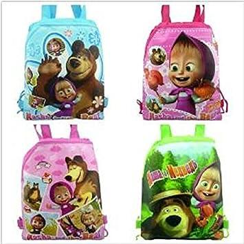 Amazon.com: 4pcs Masha & Bear Cordón Mochila Bolsas de ...