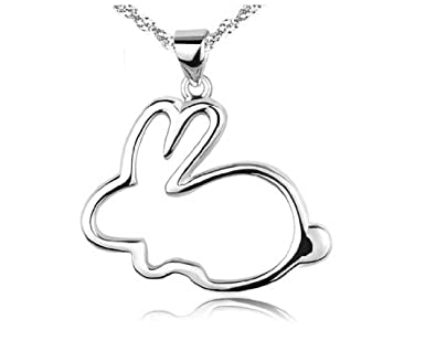 findout Fashion simple small white rabbit sterling Silver Necklace(290) 3CkK9s