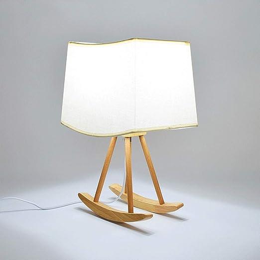 Modenny Lámpara de mesa de cuna de madera creativa con pantalla de ...