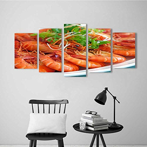 5 Pieces Modern Wall Art Decor Frameless Delicious Boiled Shrimp for Home Print Decor for Living Room ()