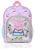 Peppa Pig Magical Unicorn Kids Backpack | Girls Pink Canvas Rucksack With Silver Glitter, Perfect Children School Bag, Nursery Or Preschool Bag, Kids Toddlers Travel Bag With Pink Unicorn