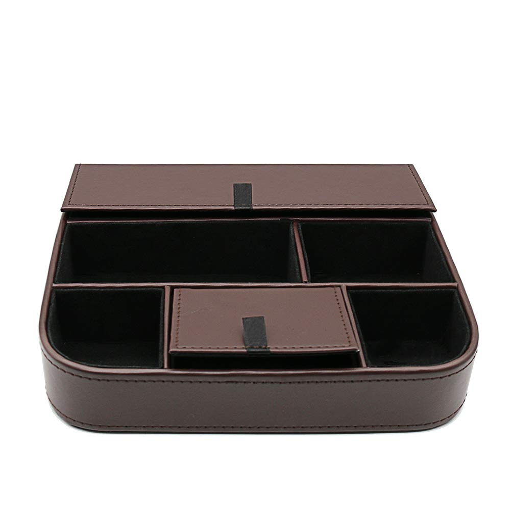 fosinz Mando a Distancia Soporte Organizador Piel Hilado Control de Almacenamiento Caddy TV Control Remoto Organizador con 5 Compartimentos espaciosos Negro