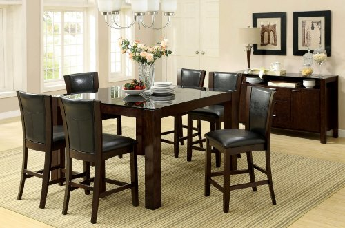 Furniture of America Renolds 7-Piece Counter Height Table Set with 10mm Black Tempered Glass Top, Dark Cherry Finish
