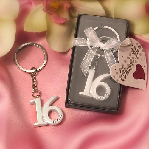 Sweet 16 Key Ring Key Chain - Wedding You Thank Keychains