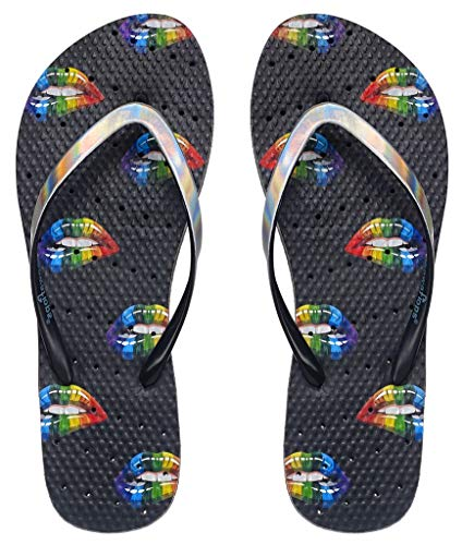 Showaflops Girls' Antimicrobial Shower & Water Sandals for Pool, Beach, Camp and Gym - Rainbow Lips 2/3