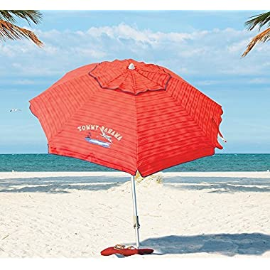 Tommy Bahama 2016 Sand Anchor 7 feet Beach Umbrella with Tilt and Telescoping Pole (Red Stripe)