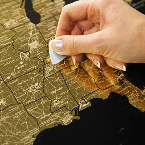Detailed Scratch Off USA Map Black (16x24in) United States Travel Map Gift - Includes Rewritable Marker - Made of Flexible Plastic by 1DEA.me -