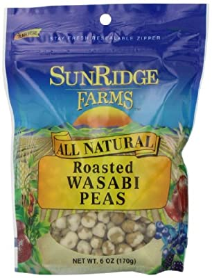 Sunridge Farms Roasted Wasabi Peas, 6-Ounce Bags (Pack of 12)