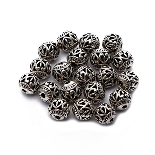 BRCbeads Top Quality 8mm Round Hollow Style #3 Tibetan Silver Metal Spacer Beads 20pcs per Bag For Jewelry Making - Tibetan Silver Metal