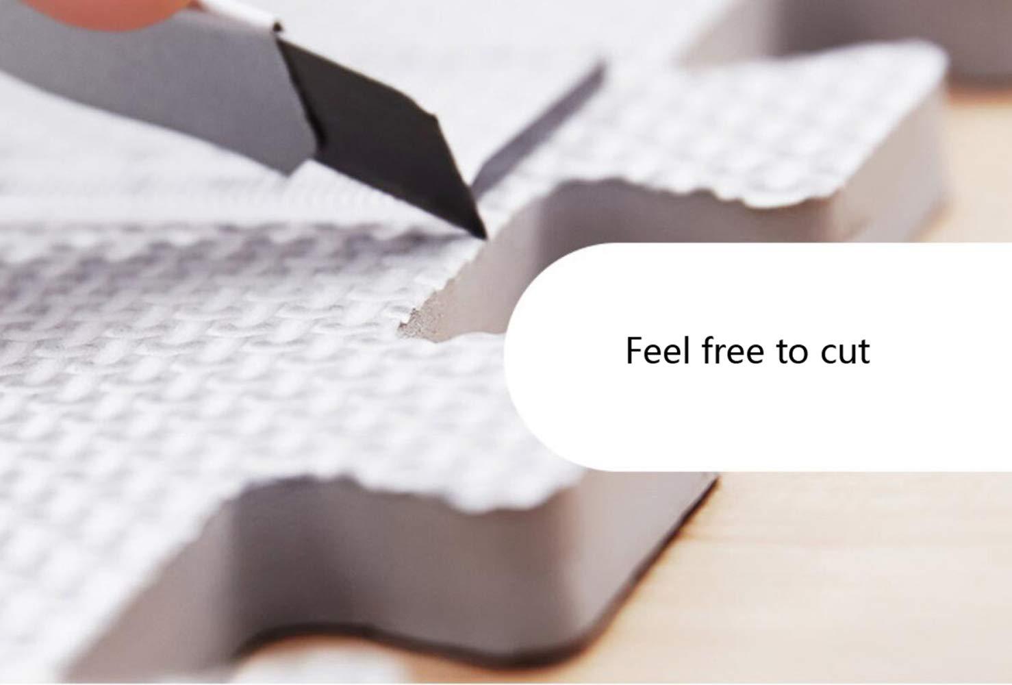 QXMEI Stitching High Elastic Foam Pad Puzzle Mat Children's Mat Crawling Mat Baby Bedroom Slip,Beige+Gray by QXMEI (Image #4)