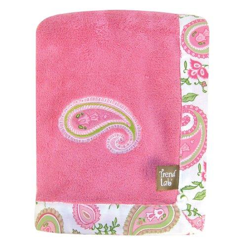 Trend Lab Paisley Park Coral Fleece Framed Receiving Blanket, Pink