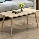 Round Wooden Coffee Table with Drawers Allywit Tables Nordic Style Coffee Table Simple and Modern Small and Medium-Sized Fashion Coffee Table Rectangular Arc Table Solid Wood Tables 39.3719.68 Inch (Yellow)