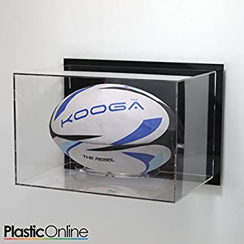 4f2ace1b76c Plastic Online Ltd Rugby Ball Display Case Wall Mounted Horizontal - Black   Amazon.co.uk  Sports   Outdoors