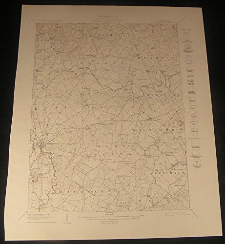 Gettysburg Pennsylvania Midway Newchester Aspers 1929 vintage color Geology map