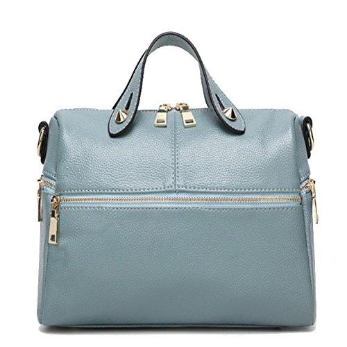 HNYEVE HB1200014C3 Spring Genuine Leather Europe Women's Handbag,Cylindrical Boston - Boston Belt Genuine