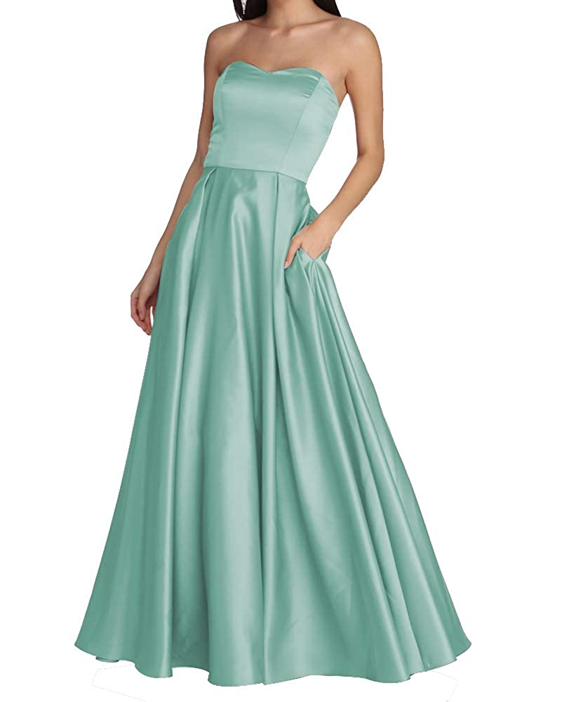 Light Green Women's Strapless Long Prom Dresses A Line Satin Homecoming Party Gowns with Pockets BD040