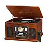 Victrola Record Player Best Deals - Victrola VTA-600B Nostalgic Aviator 8-in-1 Bluetooth Record Player with USB Recording, Mahogany