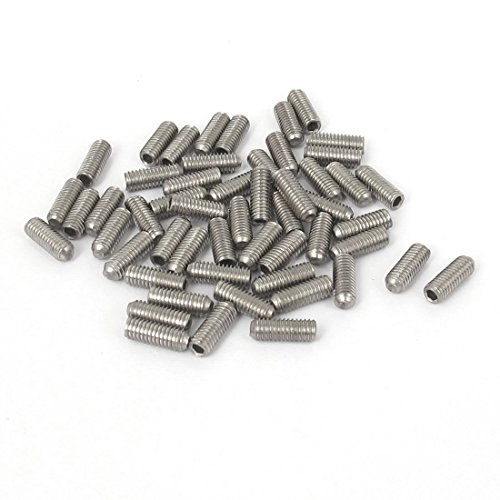 uxcell M3x8mm Stainless Steel Hex Socket Set Cap Point Grub Screws 50pcs