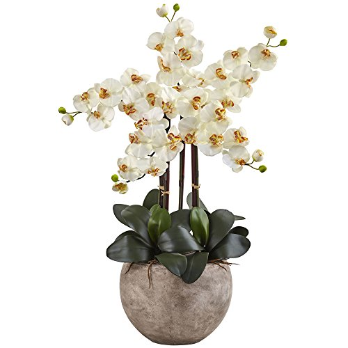 (Nearly Natural 1402-CR Phalaenopsis Orchid Silk Arrangement with Sand Colored Bowl, C)