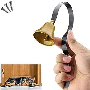 Comsmart Tinkle Dog Bell Pet Door Bell Hanging Brass Doorbell for Potty Training Housetraining Houserbreaking (Black)