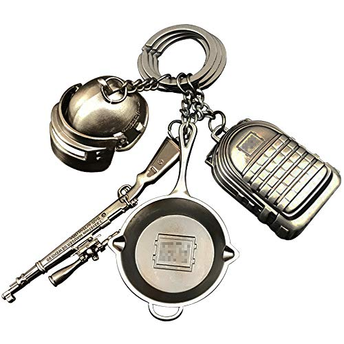 - hebensi 4 Pcs Metal Keychain Including Level 3 Helmet Level 3 Backpack Kar98K and Frying Pan Iron Key Ring Pendant
