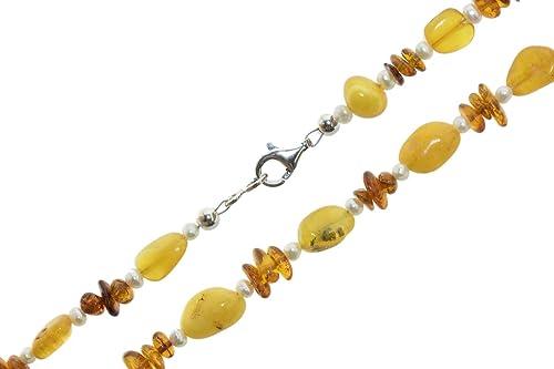 1801db75d4 Ambra (giallo/marrone) e perle di acqua dolce (bianco) catena Ø 4 ...