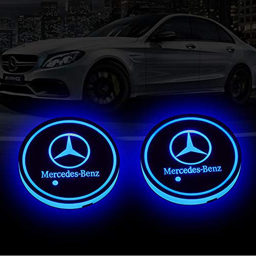 Zhengyong Auto 2PCS LED Car Logo Cup Holder for Mercedes-Benz ,Waterproof Bottle Drinks Coaster Built-in Light 7 Colors Changing USB Charging Car Interior Accessories (Mercedes-Benz)
