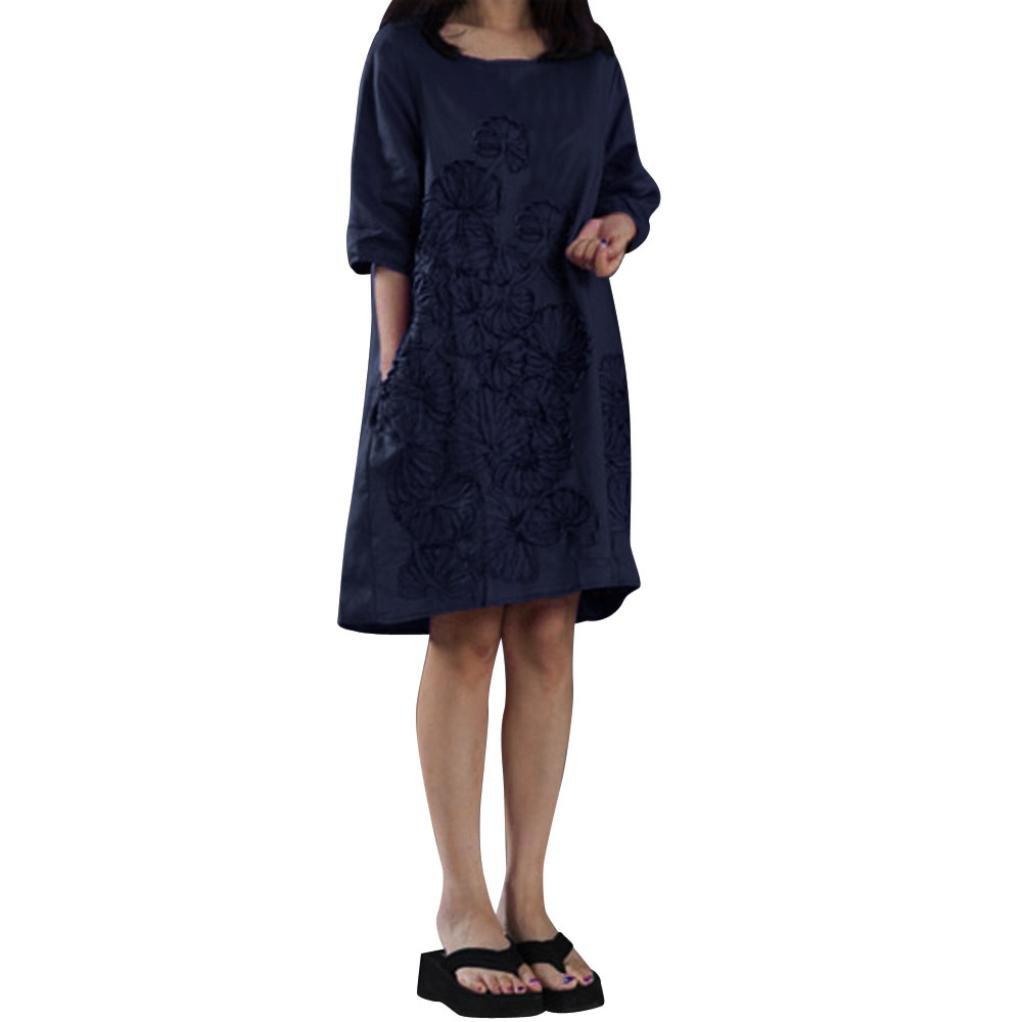 Srogem Womens Dress Women Tunic Dress, Half Sleeve Cotton Linen Loose Midi Dresses Floral Emboridery with Pockets Plus Size (S, Navy)