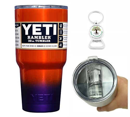 Yeti Coolers 30 Ounce (30oz) (30 oz) Custom Rambler Tumbler Cup Mug with Exclusive Spill Resistant Lid (Orange Purple Ombre)