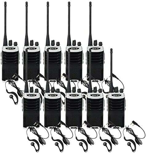 Retevis RT7 Walkie Talkies 10 Pack Long Range with Earpiece, FM Flashlight Two Way Radios Rechargeable, Hand Free 16CH Emergency 2 Way Radios for Restaurant Retail Church