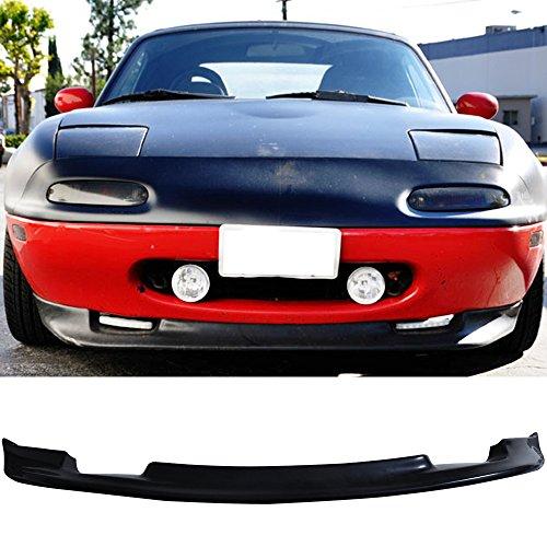 Front Bumper Lip Fits 1990-1997 Mazda Miata MX-5 All Models Type GV Style Black Spoiler Splitter Valance Fascia Cover Guard Protection Conversion by IKONMOTORSPORTS   1991 1992 1993 1994 1995 1996