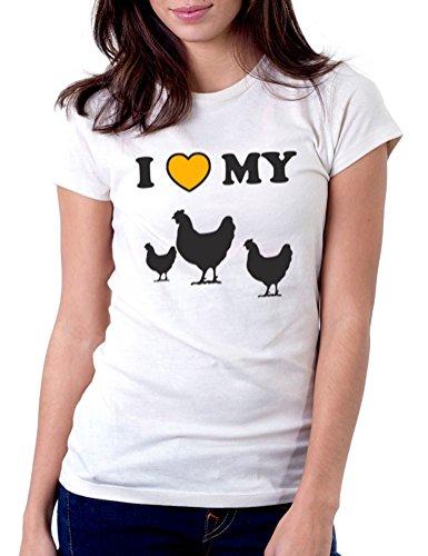 Chicken White T-shirt (I Love My Chickens - Womens Tee T-Shirt, Medium, White)