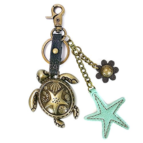 Charm Key Fob (Chala Bronze Color Metal- Purse Charm, Key Fob, keychain (Sea Turtle with Teal Starfish))