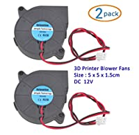 Kalanution 2pcs Cooling Blower Fan DC 12V 0.15A 50mmx15mm Fans for 3d Printer Humidifier Aromatherapy and Other Small Appliances Series Repair Replacement by Kalanution