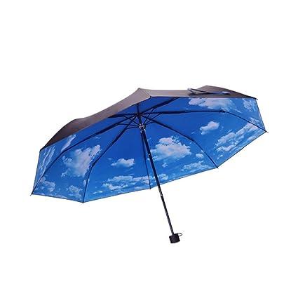 BiuTeFang Paraguas Sombrillas quemaduras de sol de protección UV paraguas plegable paraguas de vinilo 98x55cm