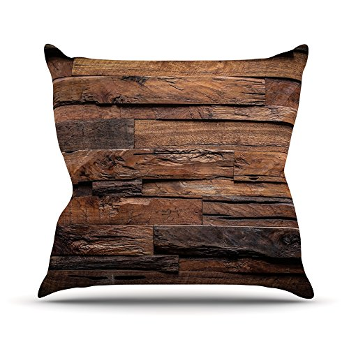 Kess InHouse Susan Sanders Espresso Dreams Rustic Wood Throw Pillow, 26 by 26″ For Sale