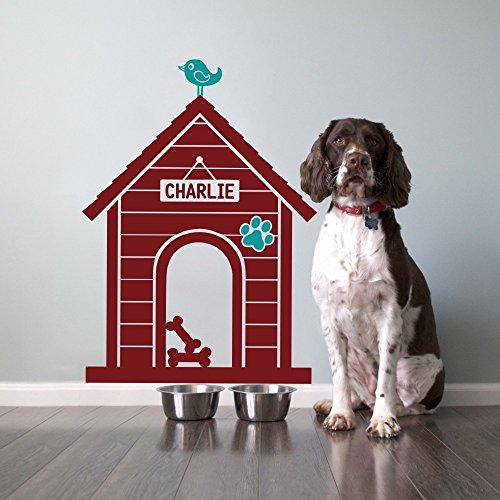 "Modern Dog House Indoor: Custom Dog Name Sign Wall Decal - House:Dark Red,Bird & Paw:Teal (49""hx35""w)"