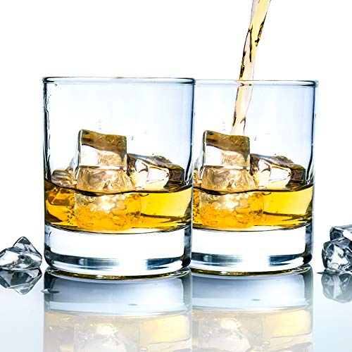 Whiskey Rocks Glasses with Heavy Base and Lead-Free Crystal for Vodka Bourbon Whisky Scotch Liquor 10 oz Set of 2