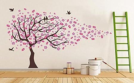 Amazon.com: kiyeon Pink Cherry Blossom Tree with Birds Wall Stickers ...