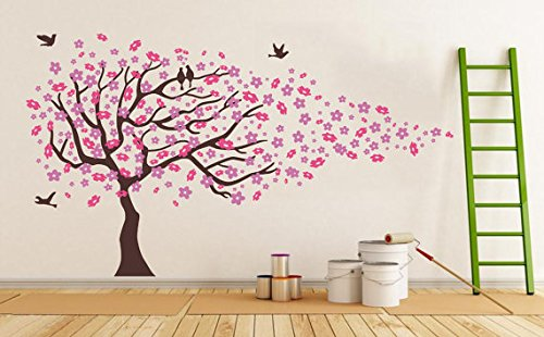 Pink Cherry Blossom Tree With Birds Wall Stickers Girls Bedroom Tree Wall  Decal Baby Girl W 373cm*H212cm: Amazon.co.uk: Kitchen U0026 Home