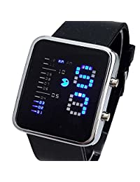 Creative Technical Sense Binary Digital LED Rectangle Rubber Strap Quartz Men Wrist Watch,Black